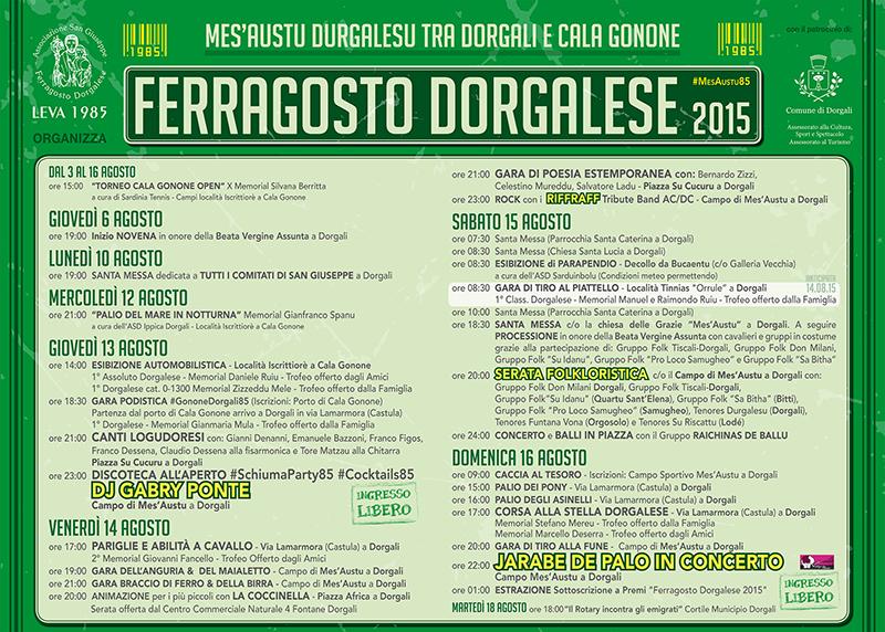 Manifesto Ferragosto Dorgalese #MesAustu85 - Programma completo e corretto 2015