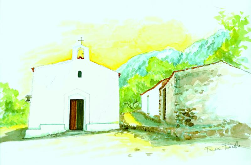 Chiesa San Pantaleo - Acquerello di Franca Fancello